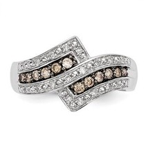 STERLING SILVER 1/3 CT CHAMPAGNE DIAMOND CLUSTER SWIRL RING - SIZE 6 - £338.78 GBP