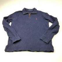 Polo Ralph Lauren Mens 1/4 Zip Jacket S Small Navy Blue Solid Pullover A... - $28.01