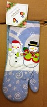 "Oversized Printed Kitchen 14.5"" Oven Mitt, WINTER, CHRISTMAS, 2 SNOWMEN - $8.90"