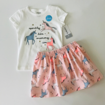 Carters 2T Toddler Girl 2-Piece Unicorn Tee & Skort Set Clothes Pink White - $21.99