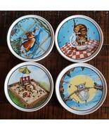 Gary Patterson Cat Design Ceramic Coasters Clay Designs Comical Cats Com... - $22.56