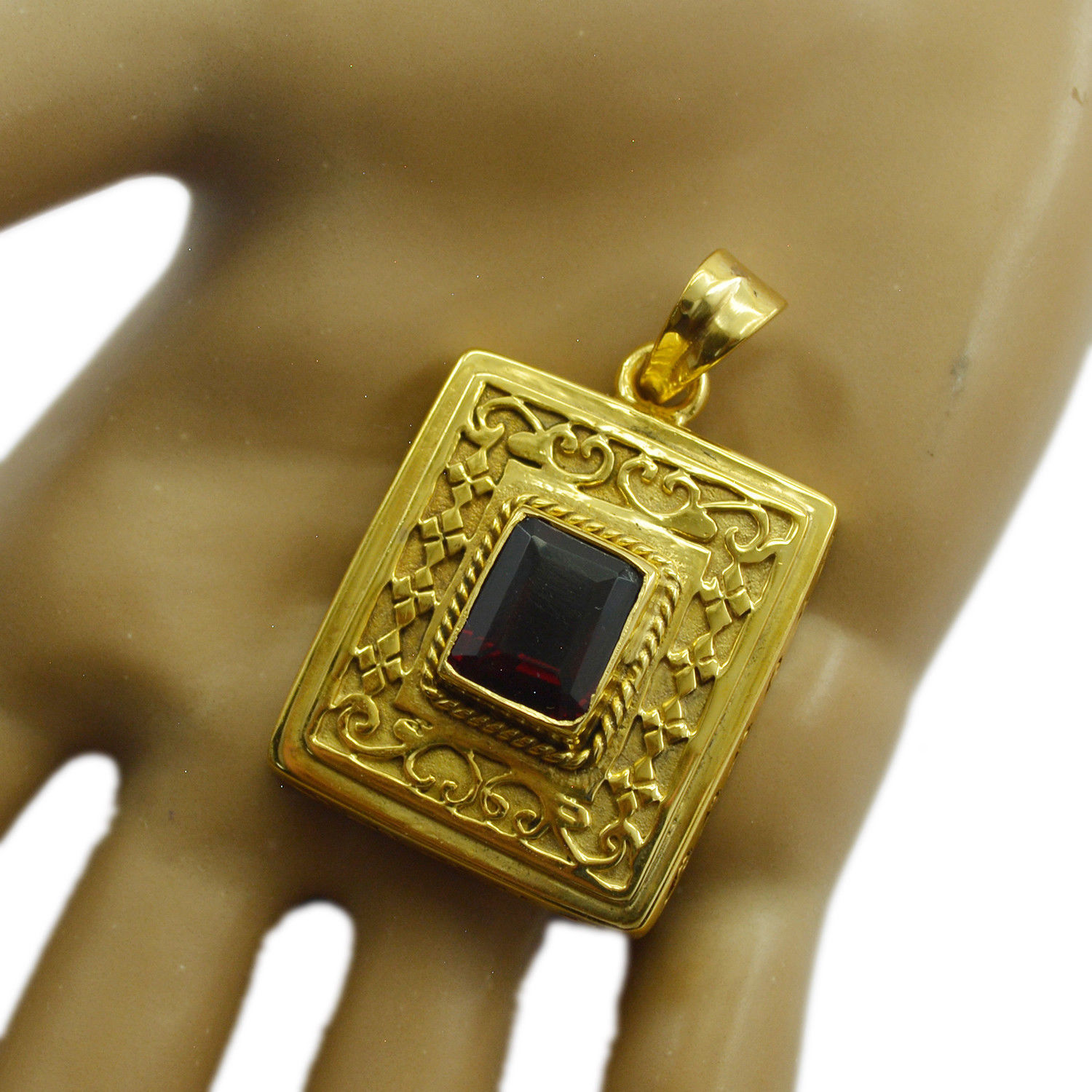 inviting Ruby CZ Gold Plated Red Pendent Glass wholesale US