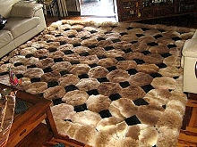 Octagon design alpaca fur rug, browns & black, 80 x 60 cm
