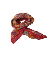 Vintage Scarf Simphony Scarfs Red Multi Dot 70s Made ITALY - $4.00