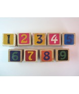 Numbers 1, 2, 3, 4, 5, 6, 7, 8, and 9 Wood Mounted Rubber Stamps - $7.99