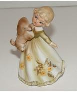 Lefton Porcelain Figurine Girl Holding A Puppy Dog No. 5490 - $9.99