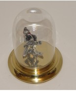 Pewter Clown Playing Sax under Glass Dome - $15.99