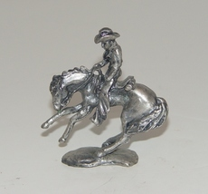 Pewter Cowboy On His Rearing  Horse Figurine - $12.00