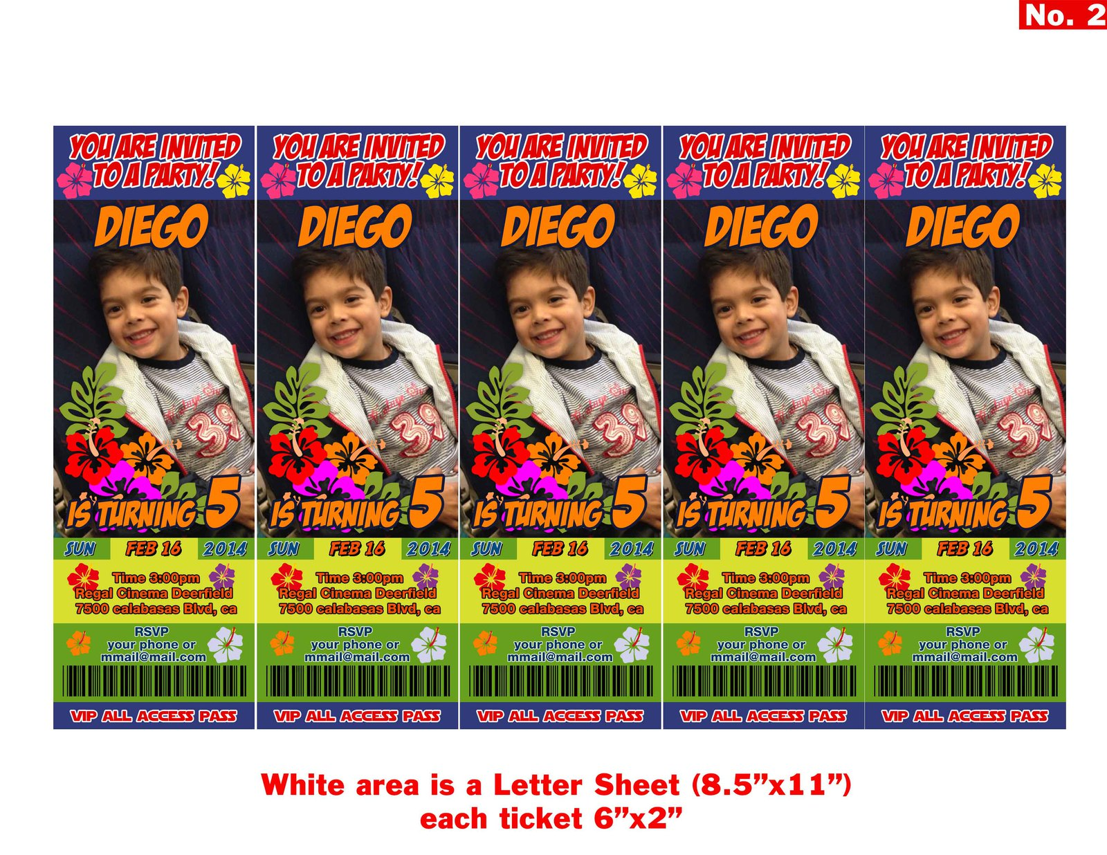 Hawaiian themed Birthday Invitation Tickets and 50 similar items – Vip Ticket Invitations