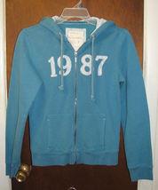Womens Aeropostale 1987 blue Zip Front Hoodie Jacket Size Large - $18.00