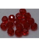 16 - 12mm Red Faceted Plastic Beads - Nice Quality - $1.00