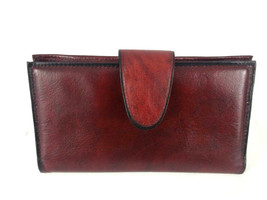 "Rolfs Womens Burgundy Cowhide Clutch Coin Check Wallet 6.75"" - $18.61"