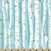 Michael Miller Backyard Baby Birch Forest Aqua Fabric by The Yard - $16.86