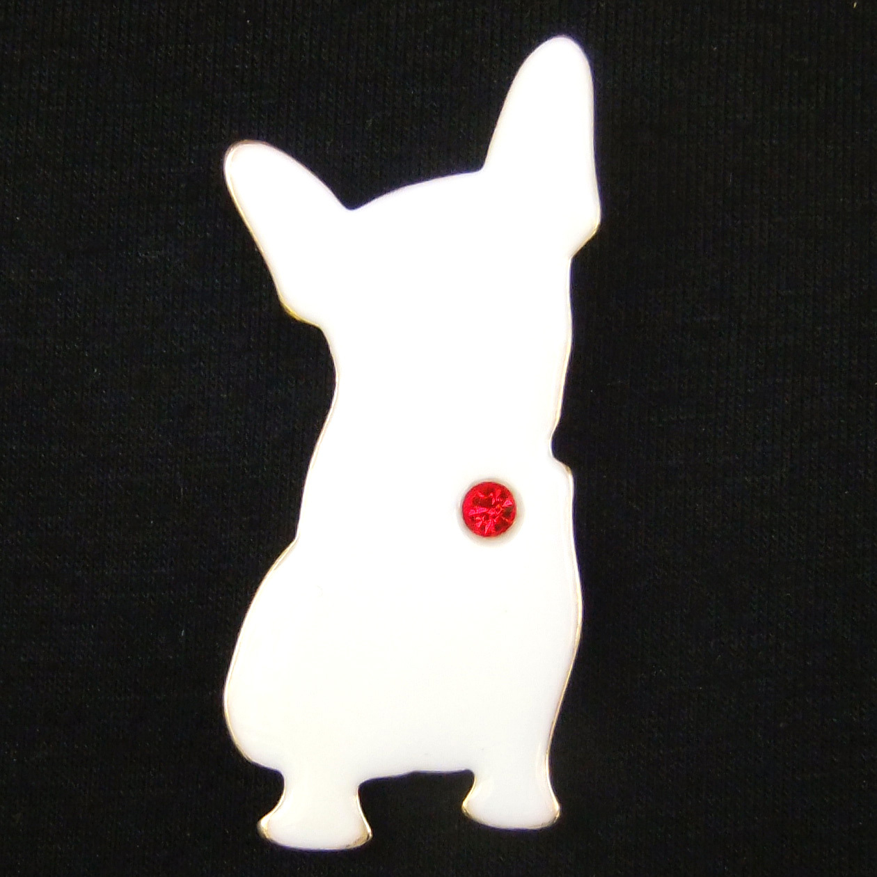 Primary image for White Dog Corgi Red Tag Bell Abstract Art Simple Lovely Fun Unisex Brooch Pin
