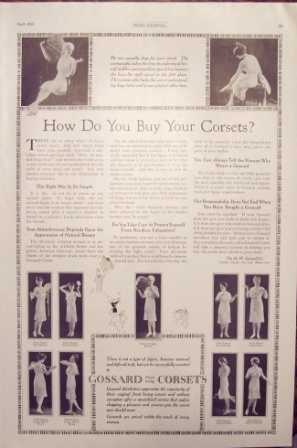 1920 Ladies Home Journal Gossard Corsets Vintage Full Page Ad