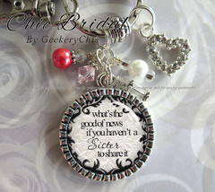 Personalized Sister Birthday Gift Thank You Key Chain Purse Pull or Neck... - $21.50