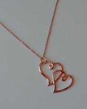 Gorgeous Rose Gold Double Hearts Necklace - $16.00