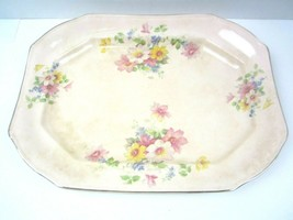 "Vintage Taylor Smith Taylor Tst Pink With Flowers w/ Band 13 1/2"" Platter - $17.75"