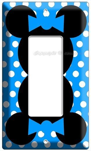NEW MINNIE MOUSE HEAD BLUE POLKA DOTS KIDS GIRLS ROOM DECOR LIGHT SWITCH OUTLETS