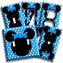 NEW MINNIE MOUSE HEAD BLUE POLKA DOTS KIDS GIRLS ROOM DECOR LIGHT SWITCH... - $8.99+