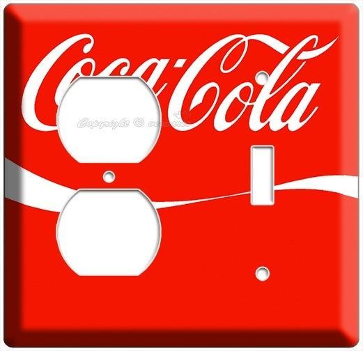 RED COKE WHITE WAVE COCA COLA LIGHT SWITCH OUTLET WALL PLATE COMBO KITCHEN DECOR