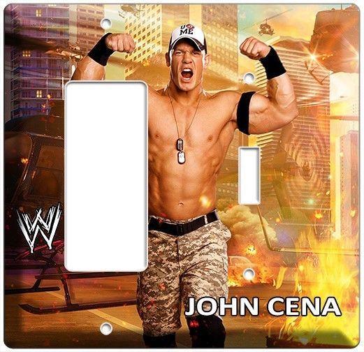 JOHN CENA WWE WWF SUPERSTAR WRESTLING CHAMPION LIGHT SWITCH OUTLET COVER PLATE