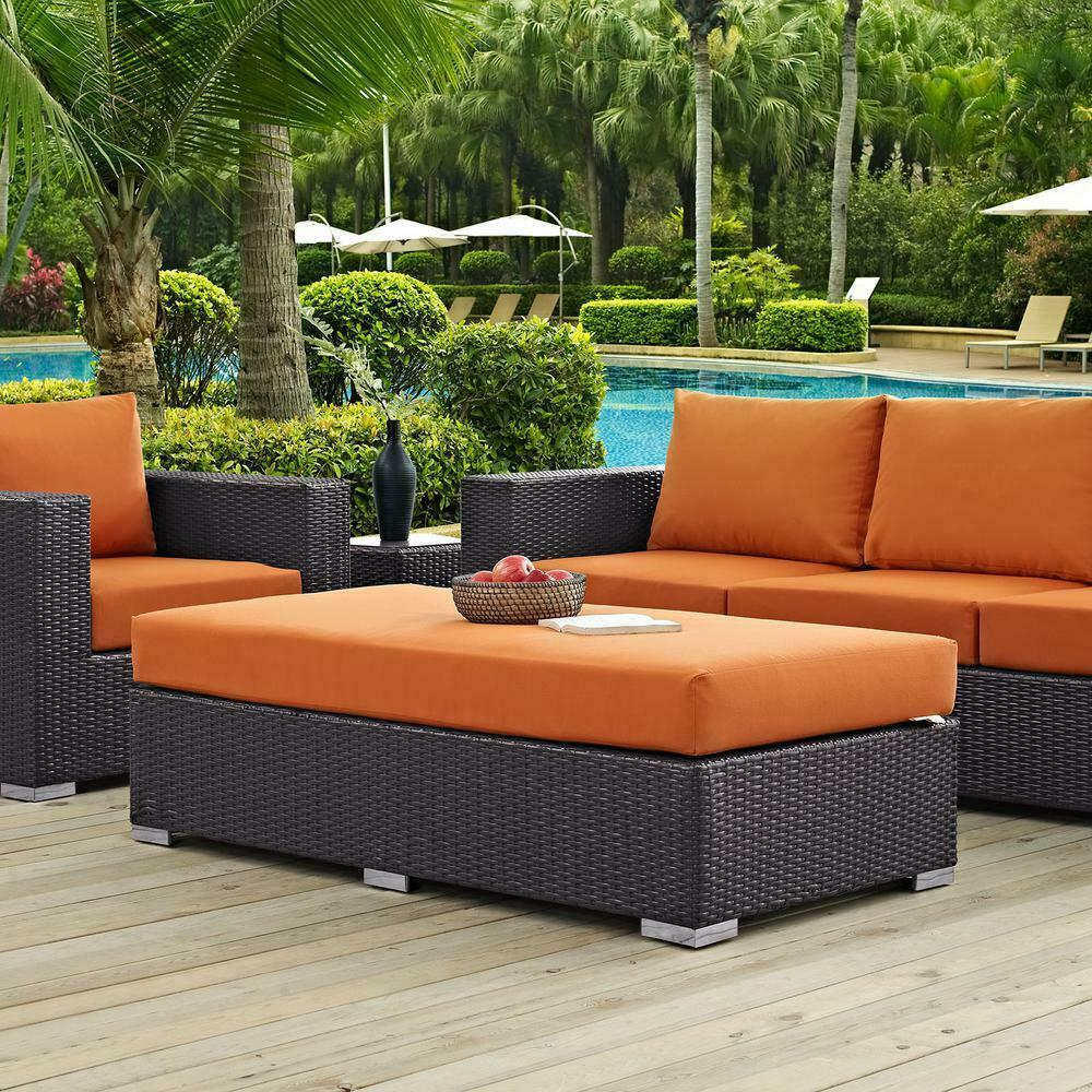 Outdoor Seating Furniture Patio Rectangle Ottoman Espresso with Orange Cushion