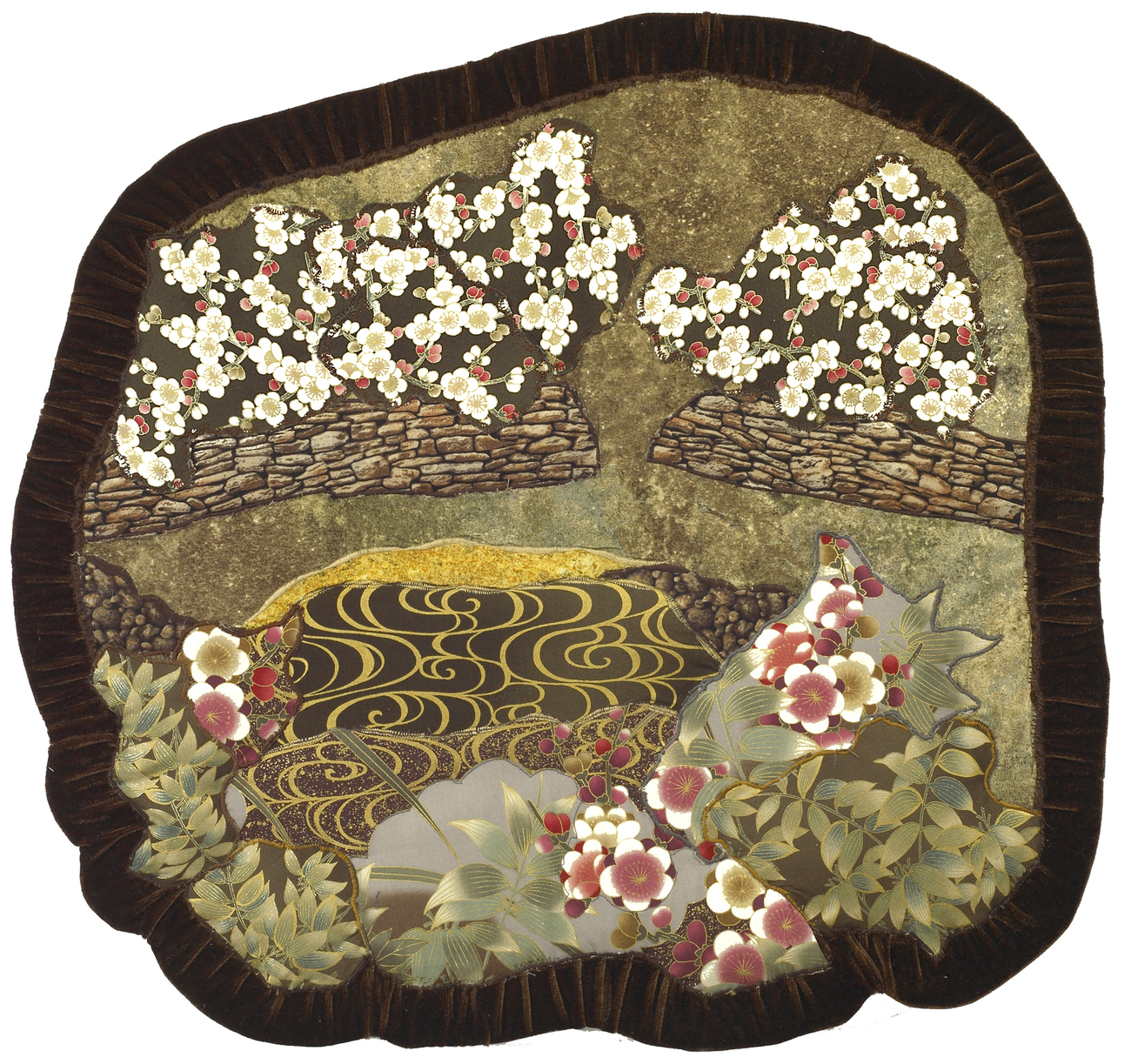 Quiet Pond: Quilted Art Wall Hanging, Oriental fabrics