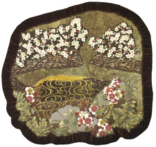 Quiet Pond: Quilted Art Wall Hanging, Oriental fabrics - $465.00