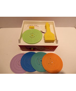Vintage 1971 Fisher Price Music Box Record Player With 5 Records Works G... - $68.59