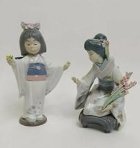 Lladro Geisha Girls Kiyoko 1450& Flower Gazer 6152 READ DESC Rare - $247.49