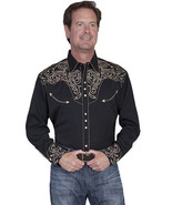 Men's Western Shirt Black Long Sleeve Rockabilly Country Cowboy Embroidered - $87.38