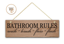 "BATHROOM RULES Sign, Wash Brush Floss Flush 5.5"" x 17"" Wood Sign - €16,70 EUR"