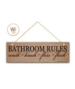 "BATHROOM RULES Sign, Wash Brush Floss Flush 5.5"" x 17"" Wood Sign - $20.25"