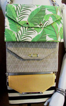 STELLA & DOT City Slim Botanical, Clean Stripe & Slate Gray Clutches wit... - $58.90