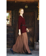 Feminine Fall. Khaki Chiffon Maxi Skirt. Fall W... - $64.90