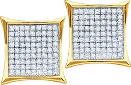 10k Yellow Gold Womens Round Diamond Square Kite Cluster Stud Earrings 1/10 Cttw - $80.00