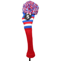 Majek Golf Red White Blue #5 Hybrid Pom Pom Knit Rescue Utility Club Hea... - $17.40
