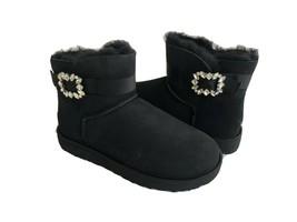 Ugg Classic Mini Suede Brooch Black Crystals Boot Us 7 / Eu 38 / Uk 5 - $107.53
