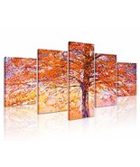 Natural art Orange Abstract Tree Canvas Painting with Wooden Frame for W... - $49.01