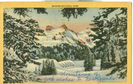 Rainier National Park Paradise Inn & Tatoosh Range in Winter, 1958 used Postcard - $9.99