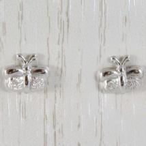 Boucles D'Oreilles or Blanc 750 18K A Lobe,avec Papillon Brillante et Fi... - $133.00