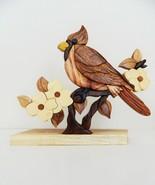 Cardinal Bird Dogwood Intarsia Wood Table Top Home Decor Lodge New - $35.59