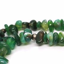 925 Silver Necklace with Agate Green Striated, 50 or 75 cm length image 8