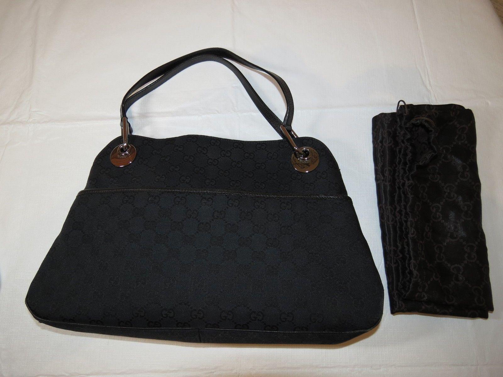 8d3b80187045 57. 57. Previous. Authentic Gucci GG Designer Shoulder Bag Eclipse Monogram  Black Canvas Leather