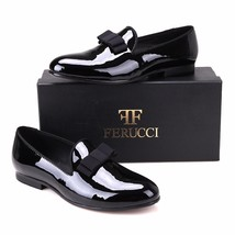 Handmade FERUCCI Men Plain Black Patent Leather with Black Bow Slippers loafer - $189.99+