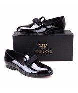 Handmade FERUCCI Men Plain Black Patent Leather with Black Bow Slippers ... - $189.99