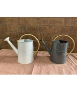2 METAL ADULT WATERING CAN 1 GALLON WITH GOLD HANDLE & SPOUT WHITE & GRAY - $14.99