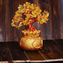 Feng Shui Crystal Wealth Lucky Money Tree Best Gift & Home Good Luck Decoration image 5