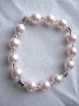 "Girl Teen Stretch Bracelet  6"" Pink Faux Pearls  & Pink Rhinstones  Scra... - $5.38"